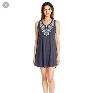 Lucky Brand navy white embroidered chemise dress